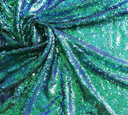 Pailletten-Stoff, Mini-Pailletten / 3 mm, schillernd, glitzernde Pailletten, Meerjungfrauen-Schwanz-Pailletten, 1-Wege-Stretch, 120 cm breit (Meterware) Irisierendes Grün