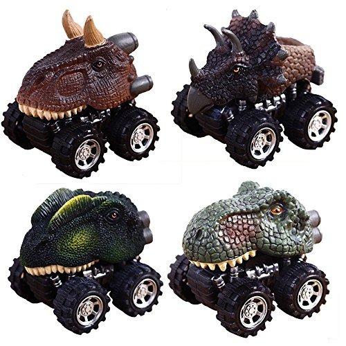 Pawaca Coches Dinosaurios, 4 Pcs Tire hacia Atrás de los Juguetes de Dinosaurios Regalos Creativos para Niños de 3-12 Años...