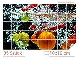Graz Design 761676_10x10_50 Fliesenaufkleber Obst - Wasser für Kacheln | Wand-Deko für Bad/Küchen-Fliesen (Fliesenmaß: 10x10cm (BxH)//Bild: 75x50cm (BxH))
