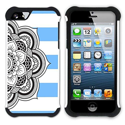Graphic4You Mandala Blume Linien Muster (Wasserblau) Hart + Weiche Kratzfeste Hülle Case Schale Tasche Schutzhülle für Apple iPhone SE / 5 / 5S Babyblau