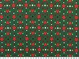 Weihnachtsstoff mit Herzen und Sternen, grün-schwarz,