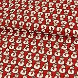 Stoffe Werning Baumwollstoff Weihnachten Schneemann rot -