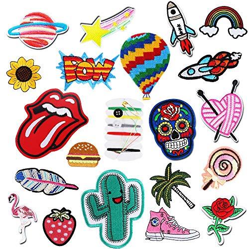 KINDPMA 20Pcs Patch Sticker Parches Ropa Termoadhesivos Infantiles DIY Parches Bordados con...