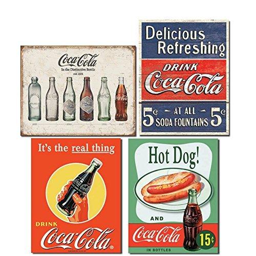 Vintage Coca Cola Blechschilder Retro Bundle-Coca Cola Bottle Evolution, Coke Delicious 5Cent, Coke Real Thing Flasche und Hot Dog & Coca Cola -