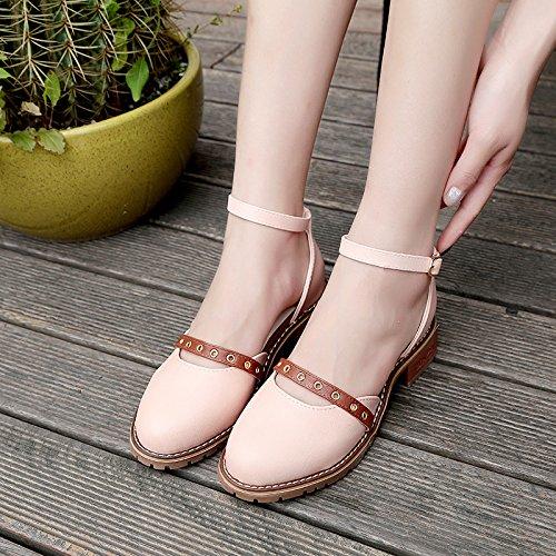 XY&GKHeel Sandalen Sandalen Ferse Baotou Roms Frauen Sandalen Sommer, komfortabel und schön 37 Pink
