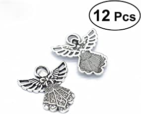12Pcs Antique Wing Guardian Angel Charms Beads Pendants for Jewelry Making (Antique Silver)