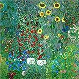 Poster 50 x 50 cm: Bauerngarten mit Sonnenblumen von Gustav Klimt - hochwertiger Kunstdruck, Kunstposter