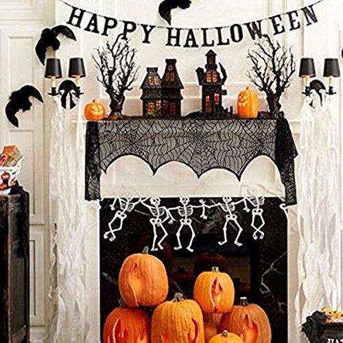 Jeteven 2pcs Halloween Dekoration Tischer Dekor & Curtain,Spider Web Blätter Dekor mit Creepy Spinnennetz Tischdecke Spinnenweben halbtransparente (Spinnennetz Dekor)
