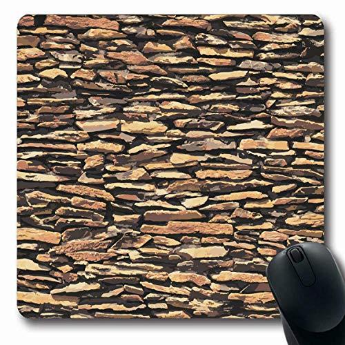 Luancrop Mousepads Zaun Ziegelstein Steinmauer Brown Relief Shadow Hoterior Natur Dry Abstract Border Design Granit rutschfeste Gaming-Mausunterlage Gummi Längliche Matte