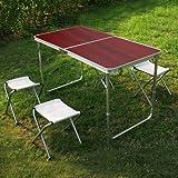 SPEED Campingtisch Klapptisch Koffertisch klappbar Tisch (Maße: 120x60x54/70CM, rotbraun mit 4 Klappstühle)