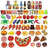 JamBer Küchenspielzeug,139 Teile Plastik Essen Spielzeug Obst Gemüse Ebensmittel Küche Kinder Pädagogisches Lernen Spielzeug Küchen Spielzeug Set Play Kinder Rollenspiele Spielzeug