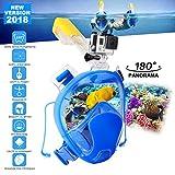 BAYTTER easybreath Tauchmaske Schnorchelmaske Vollmaske für Erwachsene und Kinder 180 ° Betrachtungsfläche Anti-Fog und Anti-Leak Dry-Top-System Wasserdicht für GoPro Kamera
