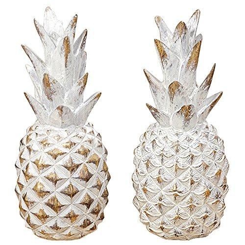 Arredamento, decorazione - set di 2 soprammobili a forma di ananas - stile: moderno - colore: bianco - materiale: resina sintetica - dim. ca 23 cm