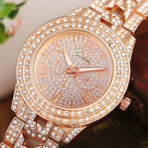 JSDDE Uhren,Luxus Elegangt Damen Armbanduhr mit Strass Glitzer Dial Damenuhr Metall-Band Ladies Dress Analog Quarzuhr (Rosegold) - 5