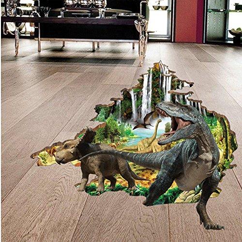 kuamai Wall Sticker Für Kinder Zimmer 3D Dinosaurier Wand Aufkleber Aufkleber Kunst Wandbild Tapete Dekor Home Zimmer DIY Dekoration Poster (Dekor Zimmer Dinosaurier)