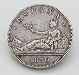 Desconocido Moneda de 5 Pesetas del Año 1870. Moneda de Plata. Moneda Coleccionable. Moneda de Coleccionista. Moneda de España.