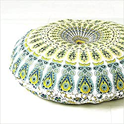 "EYES OF INDIA - 32"" BLANCO FUNDA DE COJÍN DE SUELO MANDALA HIPPIE Decorativo Decoración Bohemia"