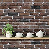 #8: PRINTELLIGENT 'Bricks Deep Dark Brown' Peel and Stick Wallpaper (Self Adhesive, 40 cm x 1016 cm)