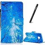 Slynmax Coque Galaxy S7 Edge Bois Bleus Peint Mode PU Cuir Étui Samsung Galaxy S7...