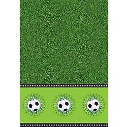 Folat - Mantel para fiestas (plástico, 130x180cm), diseño de fútbol, color verde, blanco y negro