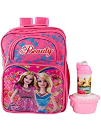 Uxpress Barbie Pink School Bag With Water Bottle & Tiffin Box