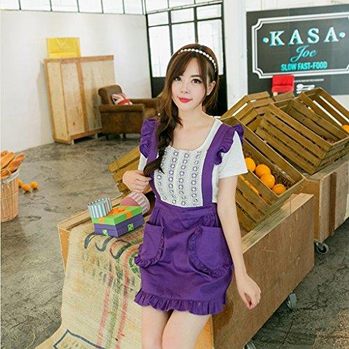 Rasieren Milch (GUO YUN Professionelle Qualität Koreanische Art Schürze Baumwollspitze Prinzessin Schürze Milch Tee Shop Kaffee Shop Kuchen Shop Arbeit Kleidung Schürze Köche Bistro Metzger ( Farbe : Lila ))