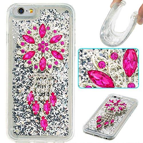 """Flüssiges Case Ultra Thin Dünn TPU Silikon Schutzhülle für iPhone 6/6s 4.7"""" 3D Kreative Liquid Handyhülle Durchsichtig Rückseite Tasche Glitter Shiny Kristall Klar Handytasche Sparkle Dynamisch Treibs B08"""