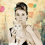 empireposter Audrey Hepburn - Cat - Plexi Art Acrylglas Blockbild - Größe 33x33 cm