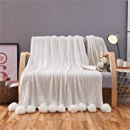 VERO VIVA Bedding 100% Cotton Hypoallergenic Striped Cable Knitted Throw Blanket Pompoms Fringe Solid Crochet,Super Soft