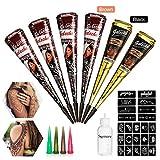 Skymore 6x Natürliche Tattoo Kegel Cones + 23x Tattoo Schablone für Temporäre Tattoos, Natürliche Kegel, Tattoo...