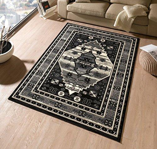 Designer in velluto tappeto ORIENT bordo nero crema | 102336,