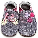 Inch Blue Mädchen/Jungen Schuhe für den Kinderwagen aus luxuriösem Leder - Weiche Sohle - Fahrrad Jeansblau/Rosarot