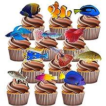 Made4You Fishing - Decoraciones de tartas comestibles, diseño de peces tropicales (36 unidades)