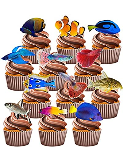 Tropical Fish Party Pack, 36 Cup Cake Toppers - Edible Stand Up Decorations