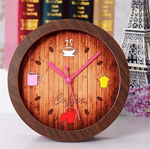 DIDADI Alarm clock Sveglia Tempo libero coffee house allarme piccola elegante e innovativo desktop è di andare indietro per gli antichi orologi orologio in legno della granella