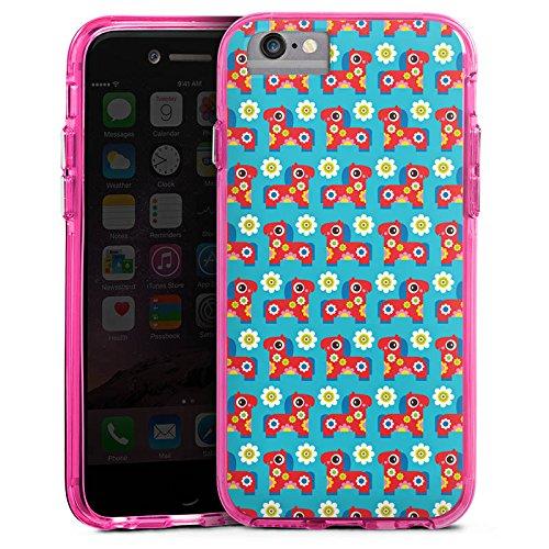Apple iPhone 6s Bumper Hülle Bumper Case Glitzer Hülle Blumen Flowers Horse Bumper Case transparent pink