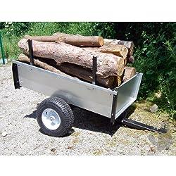 TURFMASTER-Remorque basculante en acier galvanisé spécial bois-Capacité max 450 kg