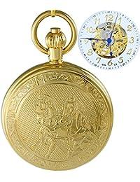 Ogle impermeable oro caballo blanco colgante collar cadena Fob Self bobinado automático bolsita para trinchar esqueleto mecánico reloj de bolsillo