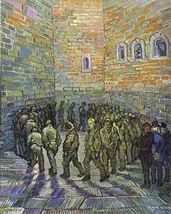 Peinture à l'huile - 26 x 32 inches / 66 x 81 CM - Vincent Van Gogh - La cour de la prison