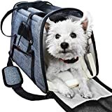Ess And Craft Pet Carrier Airline Approved | Side Loading Travel Bag With Sturdy Bottom & Fleece Cushion | Ventilated Pouch With Top Handle, Shoulder Strap & Zipper Locks | For Dogs, Cats & Others