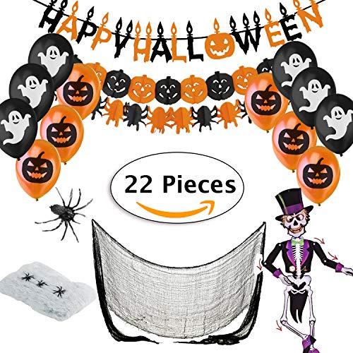 Jonami Halloween Deko XXL Set - Dekoration und Accessoires für Grusel Party und Garten - Girlande, Kürbisse und Spinnen Wimpelkette, Luftballons, Spinnennetz, Spinne, Skelett, Dekostoff Tuch - 7