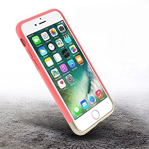 """MOONCASE iPhone 7 Coque, Slim Fit Robuste PC Combination Bumper Housse Durable Antirayures Antichoc Protection Case pour iPhone 7 4.7"""" Bleu Ciel Noir Gold"""