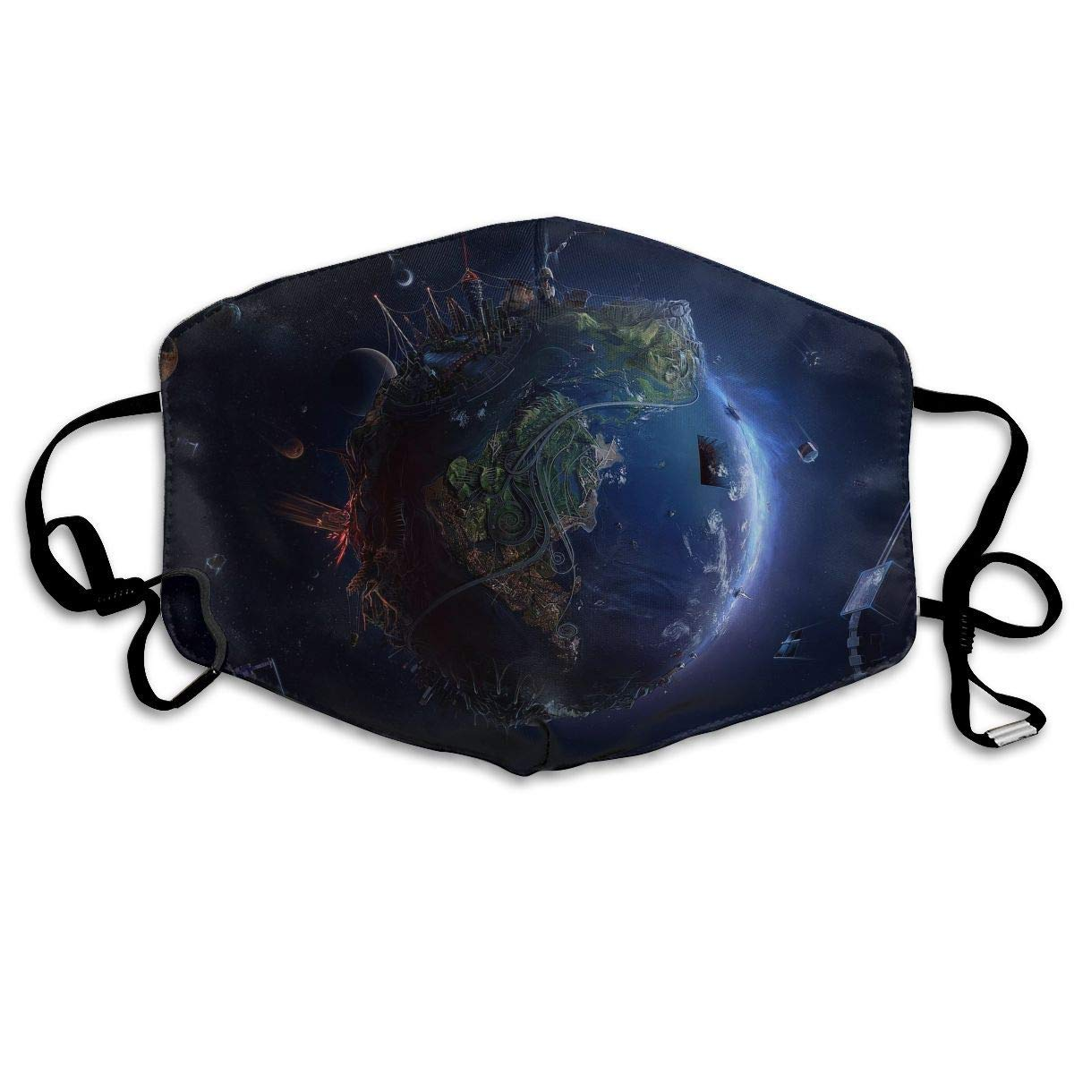 Daawqee Máscara de Boca, Antipolvo Cubierta de Boca Fantasy Earth Print Reusable Washable Earloop Máscara de Boca for Men Women