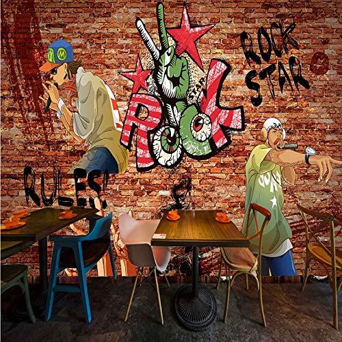 Amazhen Wallpapers für die Wände 3D gemalte Rockmusik Ziegeltapete Entertainment Restaurant Bar Dekoration Hintergrund Wandbild,336cmx238cm