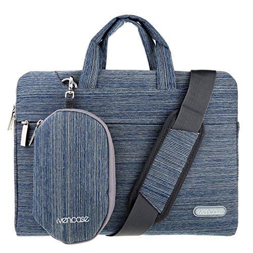 ivencase - Hülle Aktentasche Tasche Schultertasche für 15-15.6 Zoll Laptop / Notebook / Computer / MacBook Pro 15.4 / MacBook Pro with Retina Display 15.4 - blau
