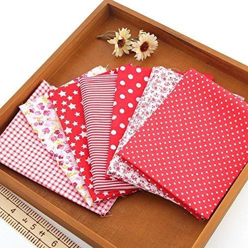 7 pcs Cotton Quilt Cloths Fabrics For Sewing 25 x 25cm