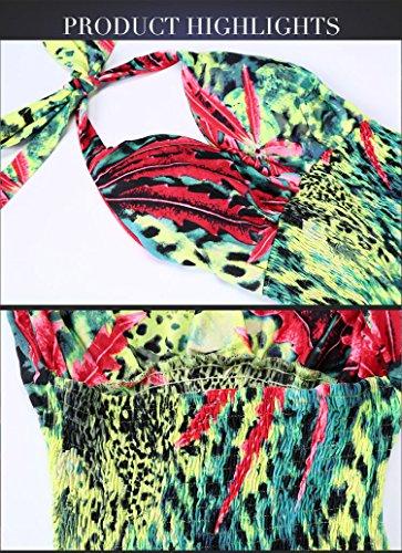 JOTHIN 2017 Taille Grands Imprimé Robe V-Cou Taille Haute Halter Dos-nu Sexy Longue Section Robe Coloré