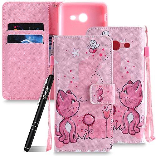 Galaxy J5 2017 Hülle Pink,Slynmax Wallet Handyhülle Flip Tasche Schutzhülle für Samsung Galaxy J5 2017 J520 Handytasche Katze Blumen Biene Klapphülle Cover Case Brieftasche Lederhülle Stoßfest