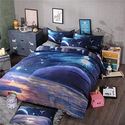 juwenin Bettwäsche 3Teilig Galaxy Down Alternative Tröster Set mit 2Passenden Kissen für Alle Saison, Flauschig, Warm, Weich und Hypoallergen Twin Xk010 (Bettdecke, Kissen Einfügen)