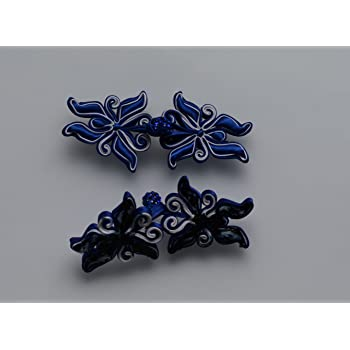 1 pair frog fastener closure button knots Black butterfly